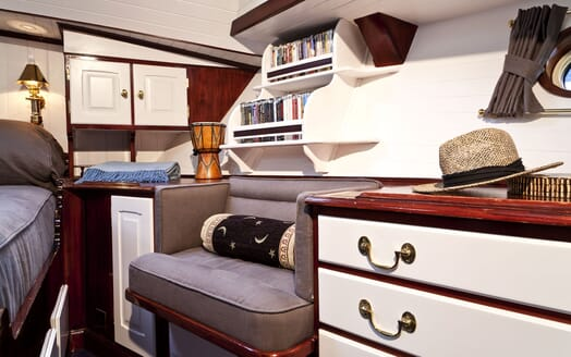 Sailing Yacht TIGERLILY OF CORNWALL Stateroom Seating and Book Case