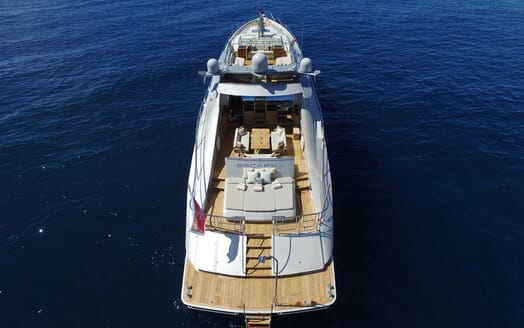 Motor Yacht Escape II Aerial Aft View