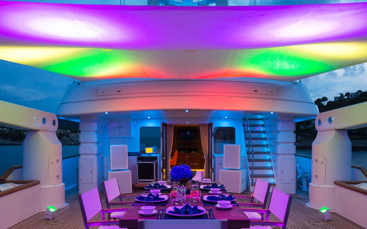 Motor Yacht MQ2 Dining Table Lit Up