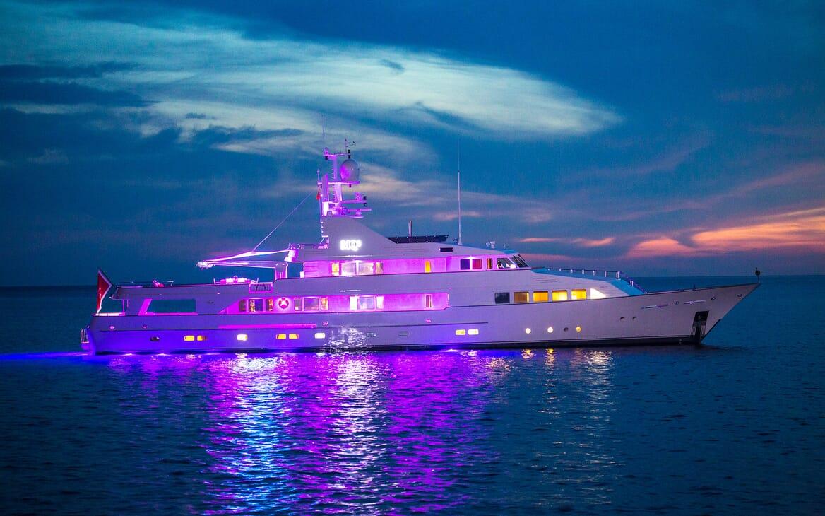 Motor Yacht MQ2 Evening Profile with Lights