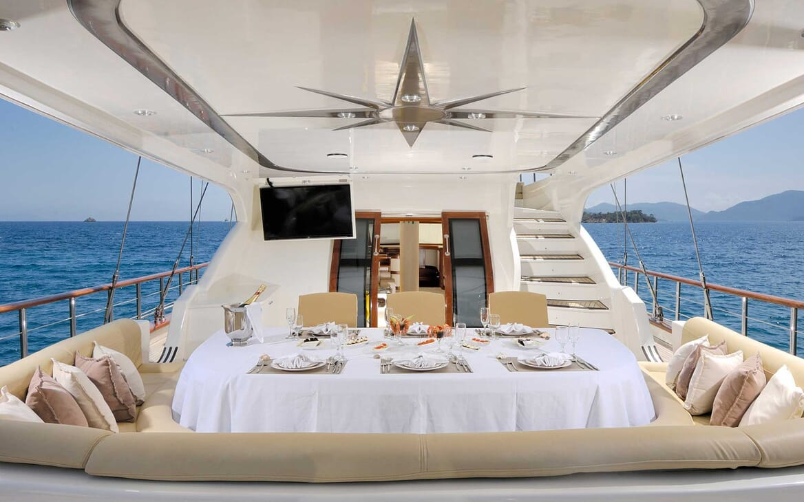 Sailing Yacht Alessandro outdoor dining area