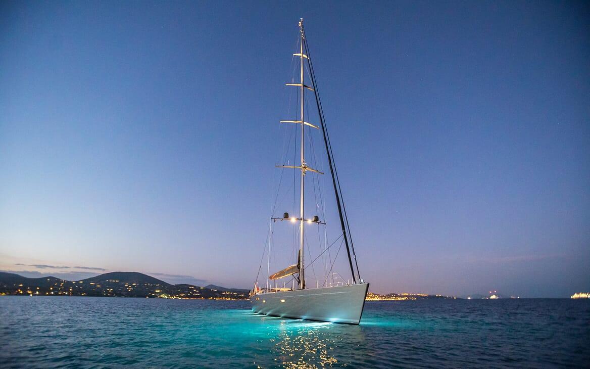 Sailing Yacht A Sulana Evening Profile