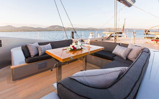 Sailing Yacht A Sulana Dining on Deck