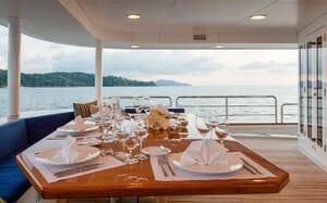 Motor Yacht NORTHERN SUN Main Aft Deck Dining Table