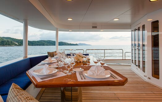 Motor Yacht NORTHERN SUN Main Aft Deck Dining Table