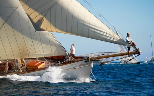 Sailing Yacht Moonbeam of Fife Bow underway detail shot