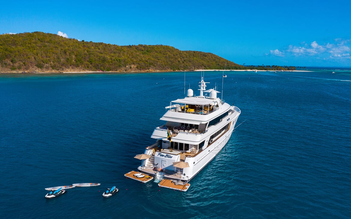 Motor Yacht PURE BLISS Exterior Aft Shot with Toys