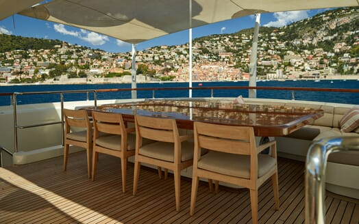 Motor Yacht NASSIMA Aft Deck Dining Table