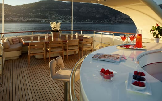 Motor Yacht NASSIMA Sun Deck Bar and Table
