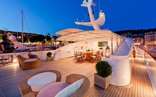 Motor Yacht SOPHIE BLUE Sun Deck Evening Dining