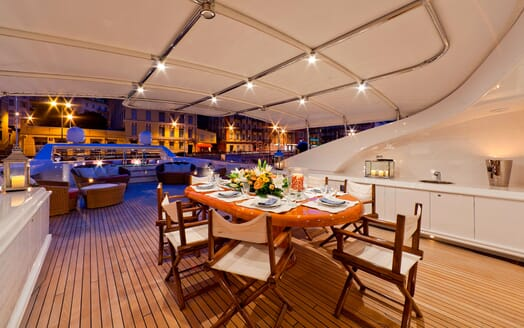 Motor Yacht SOPHIE BLUE Sun Deck Evening