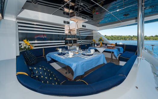 Sailing Yacht Lady Sunshine outdoor dining area