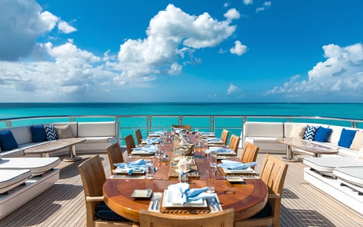Motor Yacht Titania outside dining area