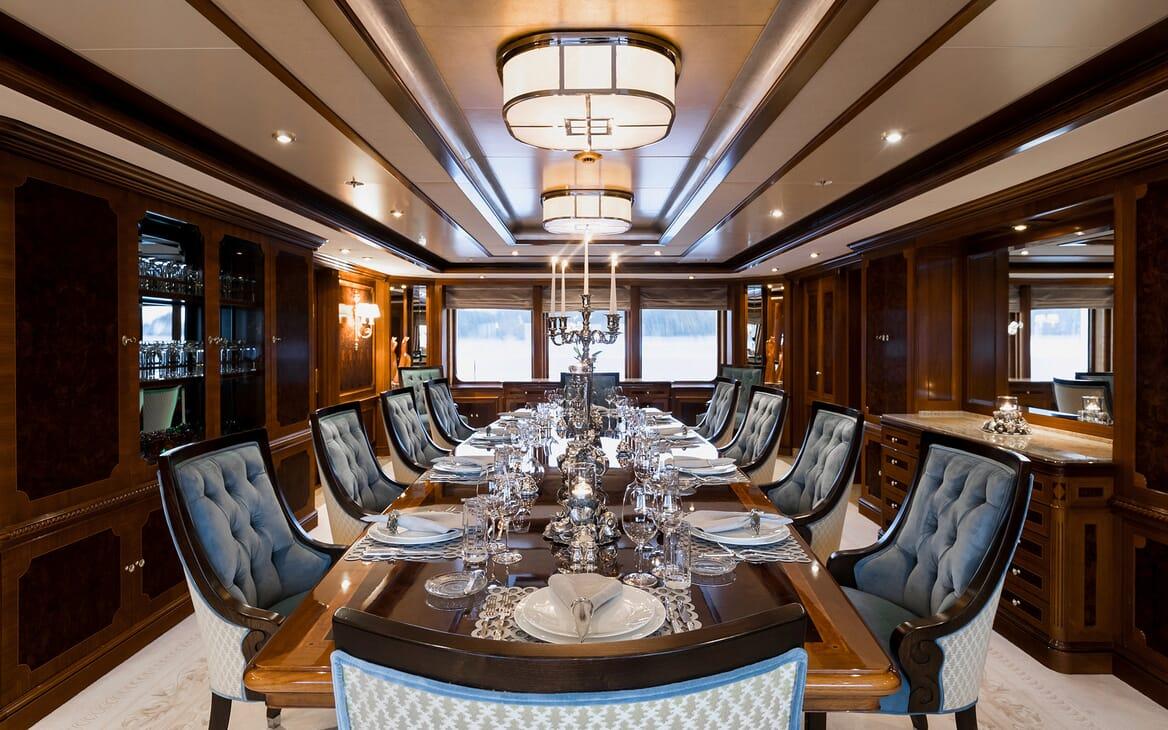 Motor Yacht Titania dining area