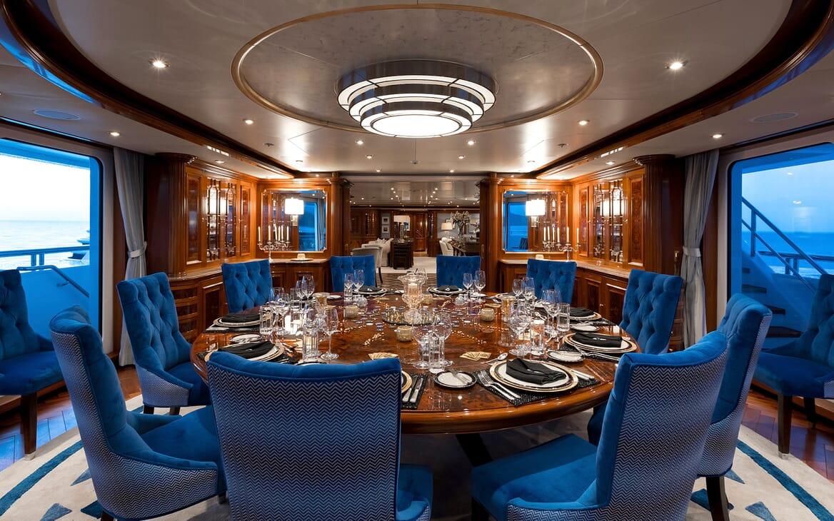 Motor Yacht Titania formal dining