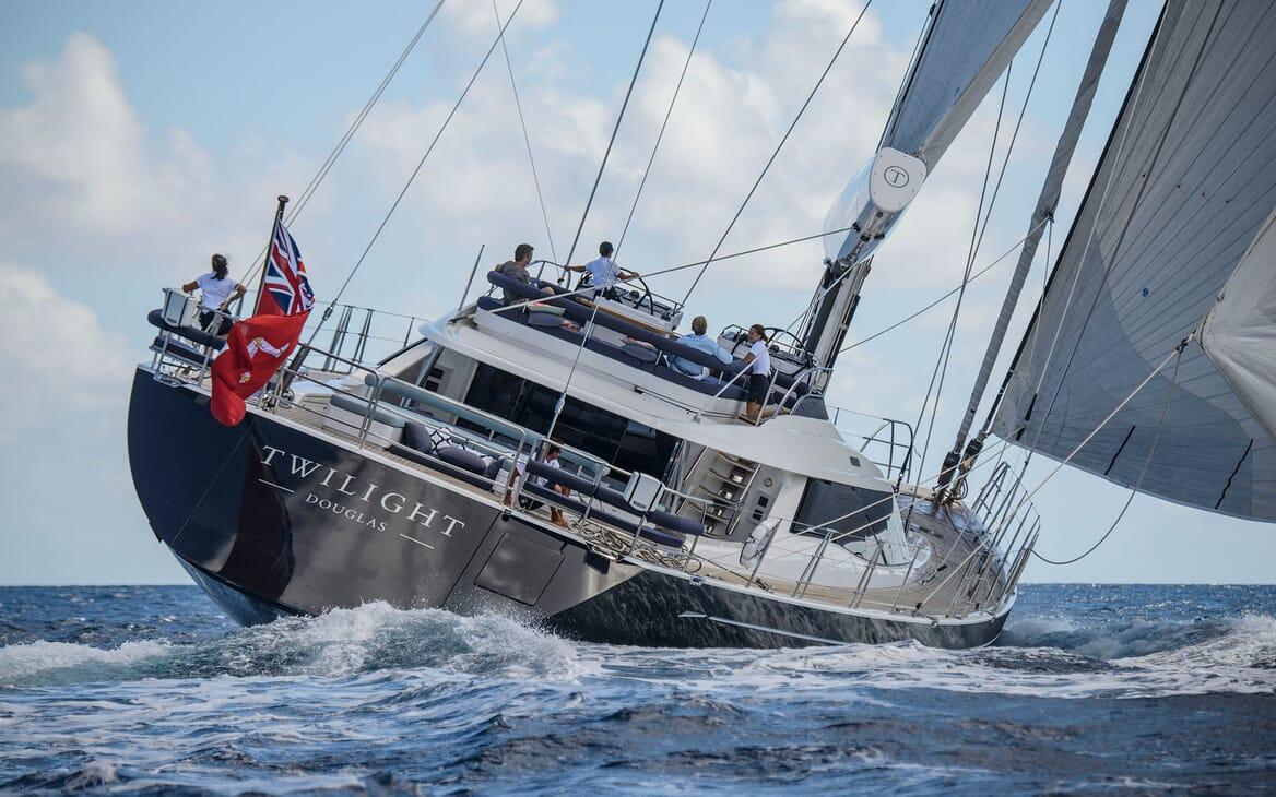Sailing Yacht TWILIGHT Exterior Aft Underway