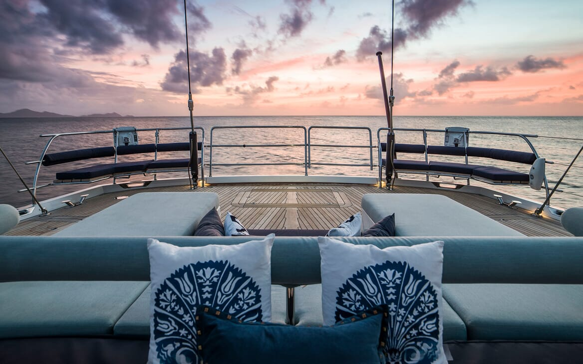 Sailing Yacht TWILIGHT Aft Deck Sun Set