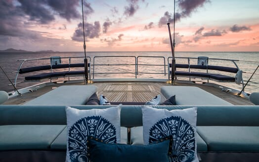 Sailing Yacht TWILIGHT Aft Deck Sun Set