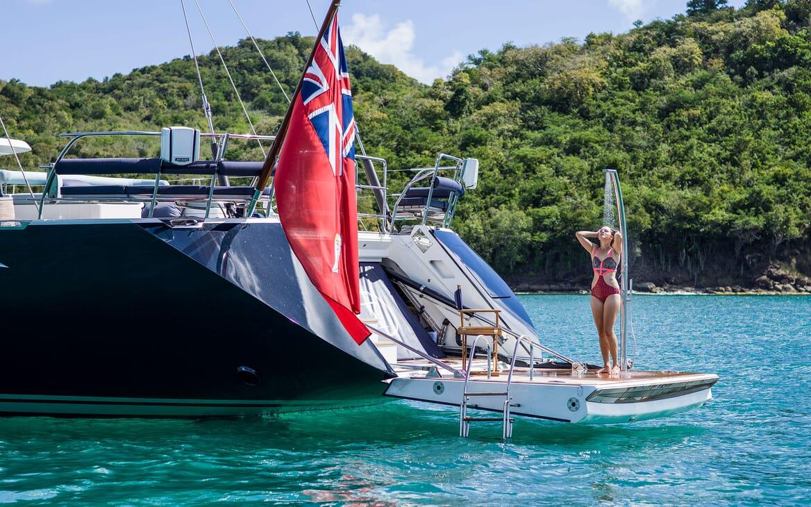 Sailing Yacht TWILIGHT Swim Platform Shower