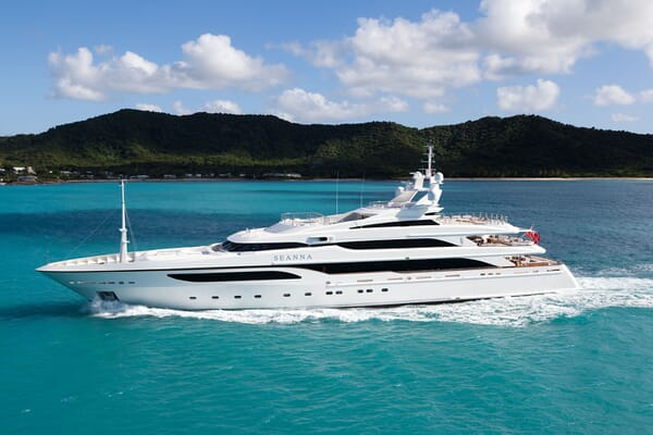 Motor Yacht SEANNA hero shot on turquoise water