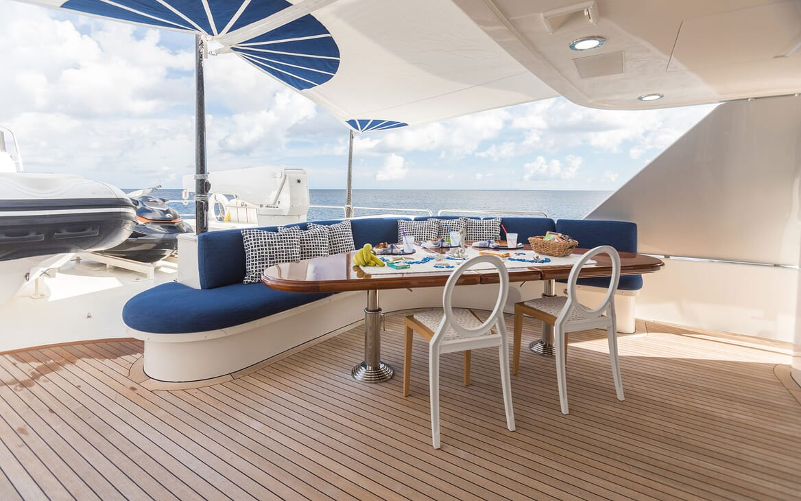 Motor Yacht ALL IN Upper Aft Deck Table