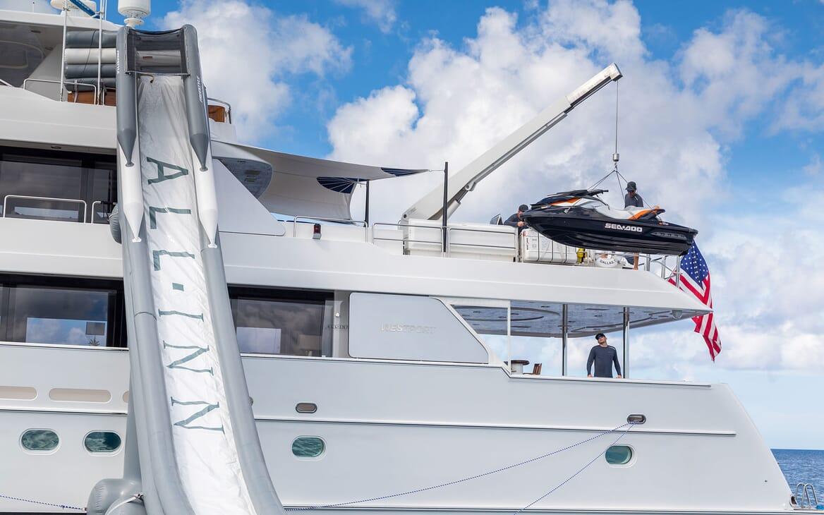 Motor Yacht ALL IN Crane Lowering Jetski