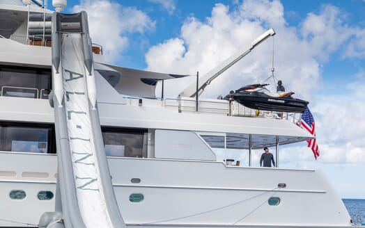 Motor Yacht ALL IN Crane Lowering Jetski