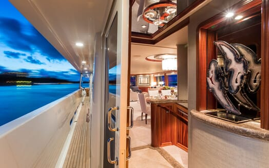 Motor Yacht ALL IN Walkway and Main Saloon