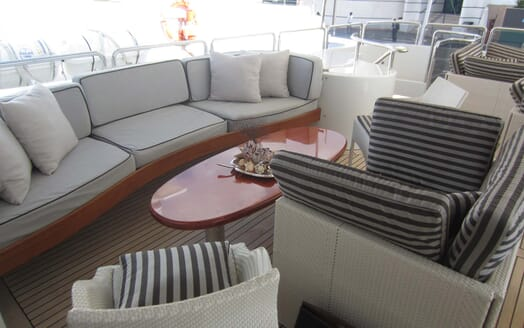 Motor Yacht Satine outside seating area