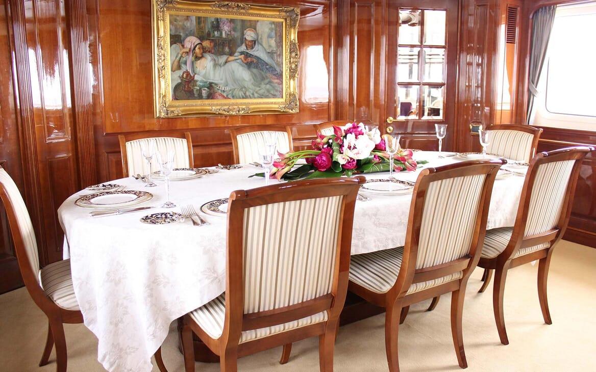 Motor Yacht Satine dining area