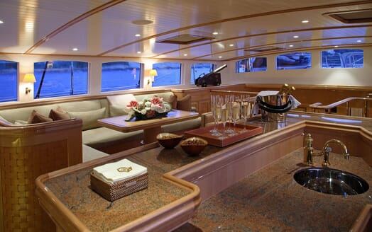 Sailing Yacht MARIE Main Saloon and Bar