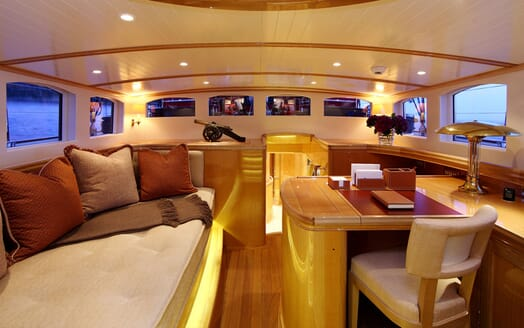 Sailing Yacht MARIE Interior Seating and Desk