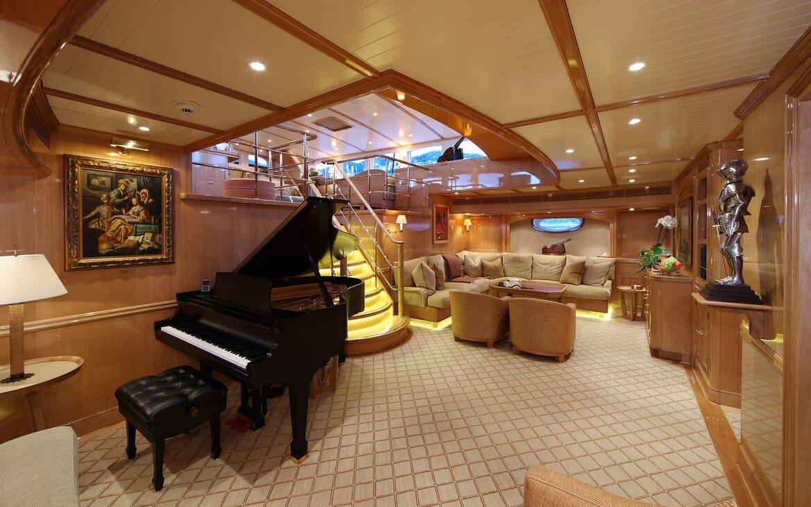 Sailing Yacht MARIE Main Saloon wit Staircase and Grand Piano
