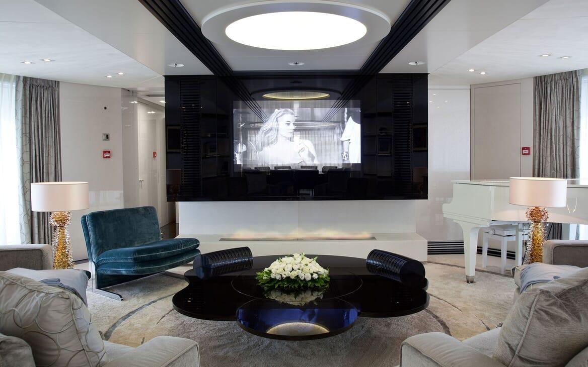 Motor Yacht QUITE ESSENTIAL Main Saloon Cinema