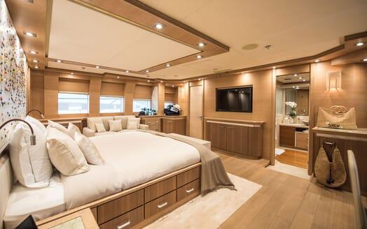 Motor Yacht Siren Master Stateroom TV View