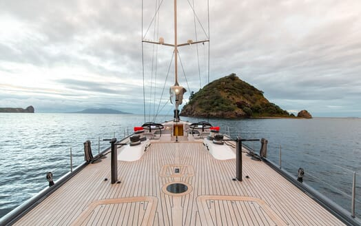 Sailing Yacht SILVERTIP On Deck Looking Forward