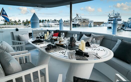 Motor Yachts INVISION Docked Aft Deck