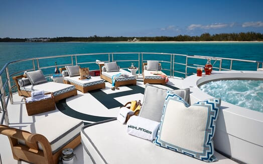 Motor Yacht HIGHLANDER Sun Deck Loungers and Jacuzzi