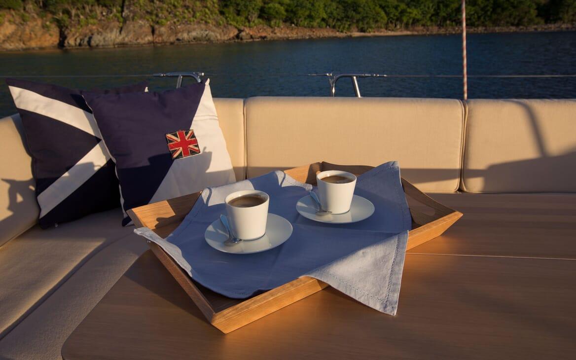 Sailing Yacht ANANDA Tea on Deck