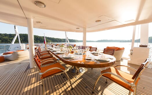 Motor Yacht Minderella large 10 seated alfresco dining table with seaviews