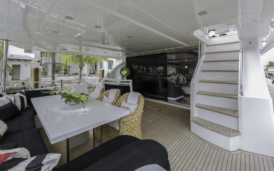Motor Yacht Cristobal aft seating area