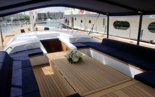 Sailing Yacht Adesso outdoor seating area