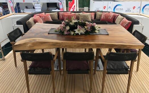 Motor Yacht Indigo Star I Aft Deck Table