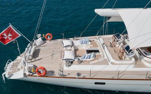 Sailing Yacht Cavallo dining on the beach