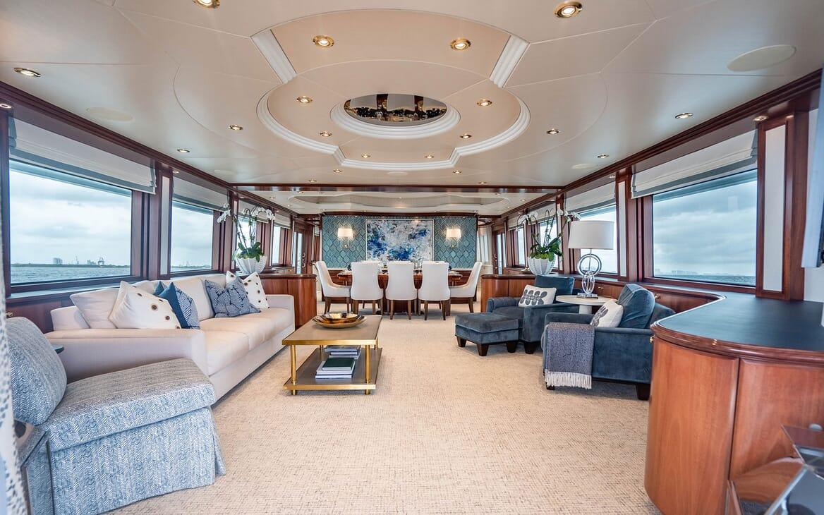 Motor Yacht RISK & REWARD Main Deck Salon and Dining