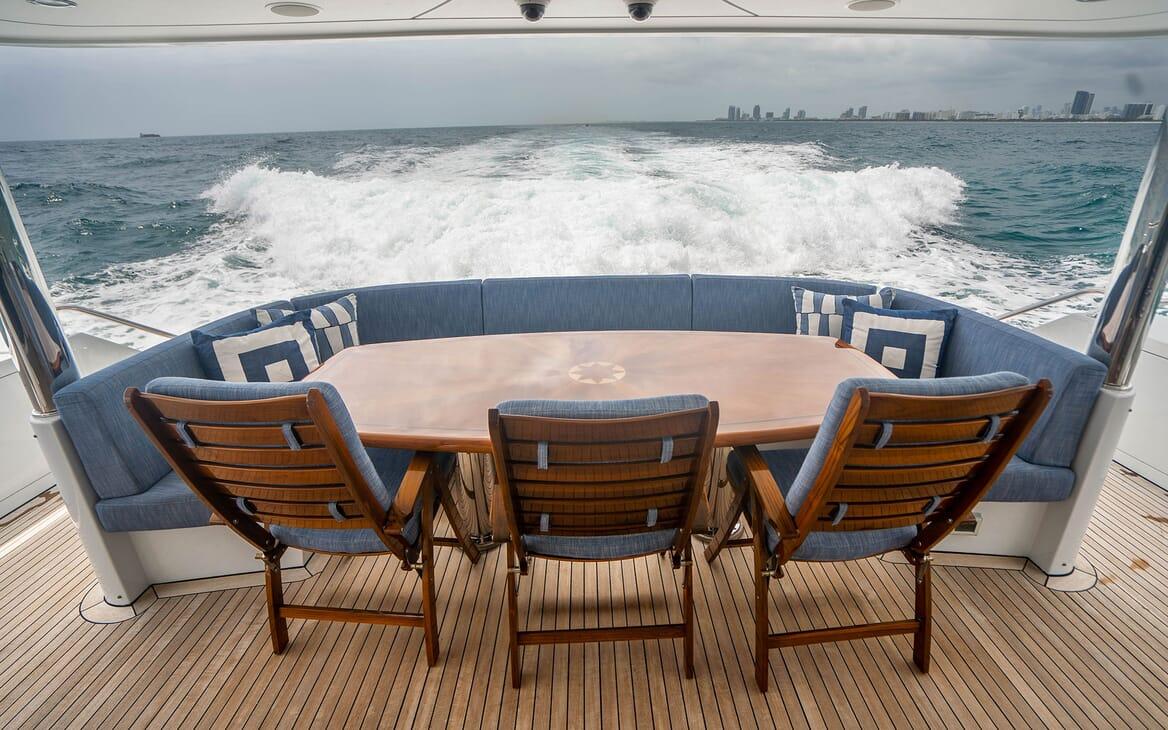 Motor Yacht RISK & REWARD Main Aft Deck Seating