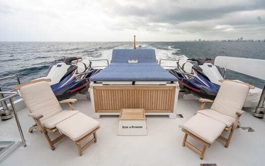 Motor Yacht RISK & REWARD Sun Deck Aft Sun Pad and Jetskis