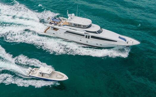 Motor Yacht RISK & REWARD Areial with Tender