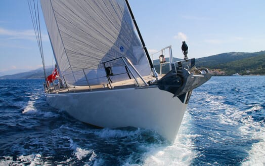 Sailing Yacht CAMILLA OF LONDON Bow Underway