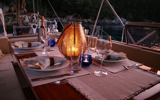 Sailing Yacht CAMILLA OF LONDON Evening Dining Table
